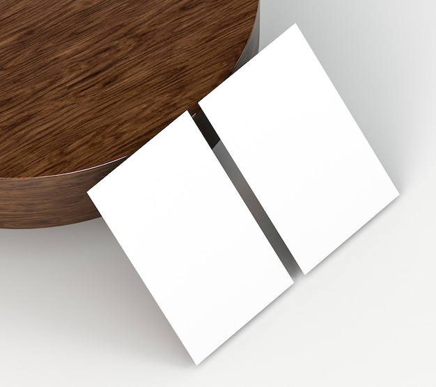 Blank corporate stationery business cards and wooden board