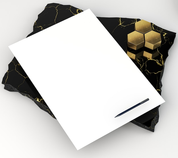 Blank corporate stationery high view on marble