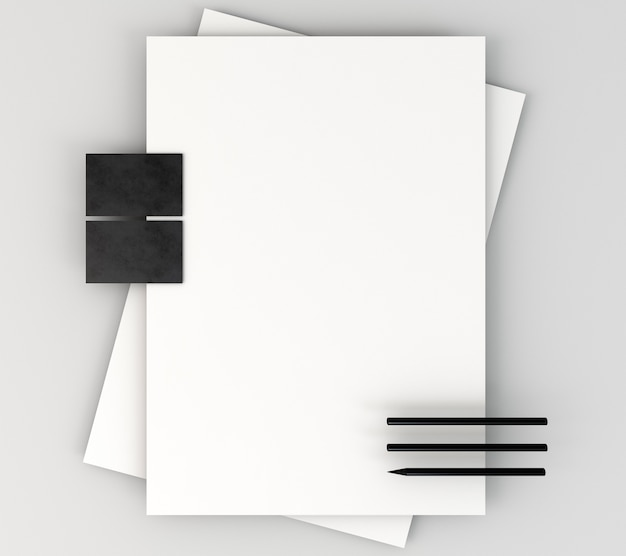 Blank corporate stationery and pencils