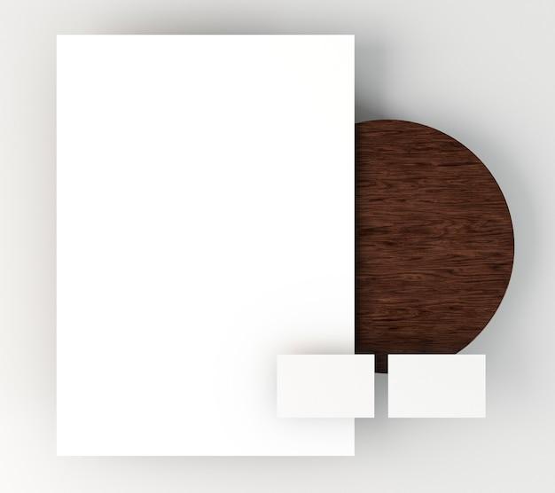 空白の企業の文房具のポスターと名刺