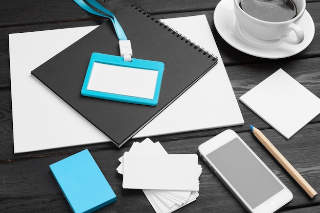 Blank corporate stationery set on wood table