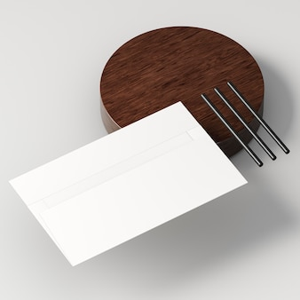 Blank corporate stationery with shadow high view