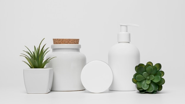 Blank cosmetic products packaging with succulent plants