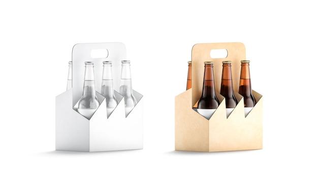空白のクラフトと白いガラスのビール瓶段ボールホルダーのモックアップアルコールのモックアップ用の空のカートン