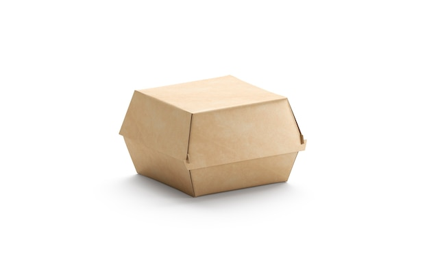 Blank craft burger box mockup isolated empty cardboard container mockup for hamburger and sandwich