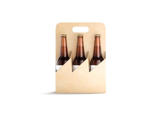 Blank craft cardboard holder for glass beer bottle mock up empty carry package for beverage mockup