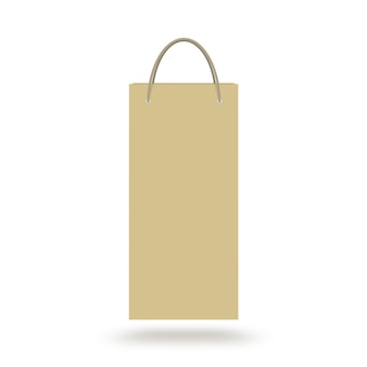 Blank craft wine paper bag with handle isolated