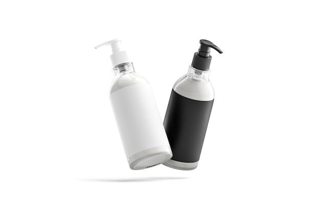 Пустая бутылка с кремом, черно-белая этикетка, без гравитации