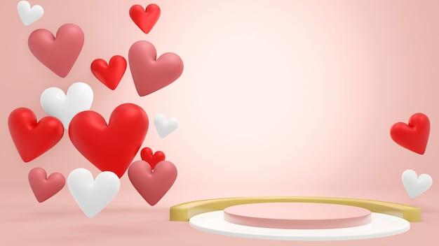 バレンタインをテーマにした現在の商品のハート型に囲まれた空のシリンダー表彰台。 3dレンダリング