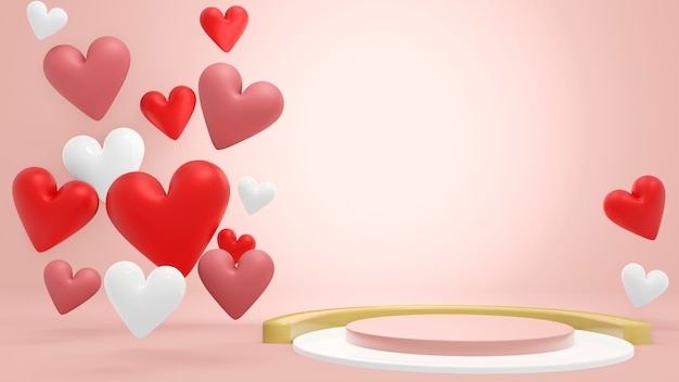 Blank cylinder podium surrounding by heart shape for present product in valentine theme. 3d rendering