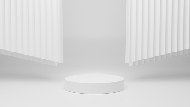 Blank cylinder podiums and layer curtain on white grey background with reflections and shadows 3d rendering for products design items display