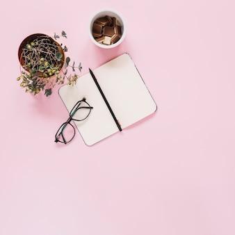 Пустой дневник с ручкой; очки; экспонат и шоколадные кусочки в пластиковой чашке