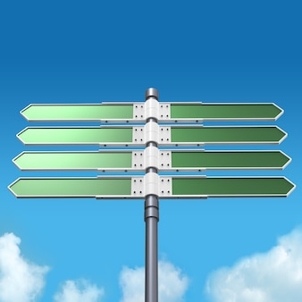 Blank direction sign with 8 arrows (add your text) on sky.