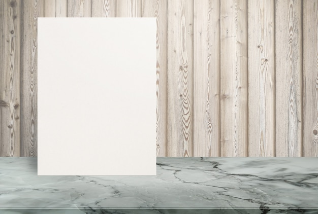Blank eco textured paper poster on stone table top at old wooden wall,template mock up for adding your design.