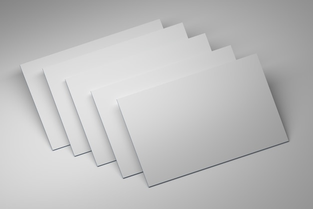 Blank empty business cards on white plane