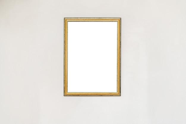 Пустая пустая рамка в художественной галерее. музейная выставка белая