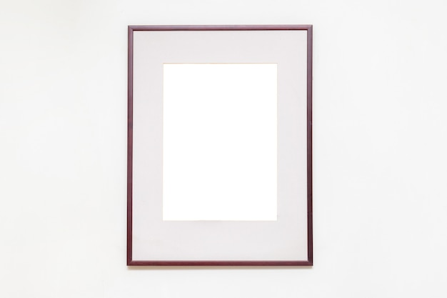 Blank empty picture frame in art gallery.