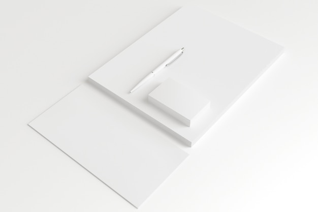 Blank envelopes and business cards isolated on white.