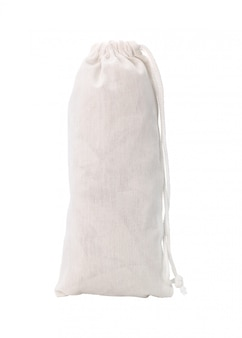 Blank fabric bag and rope isolated on white background.