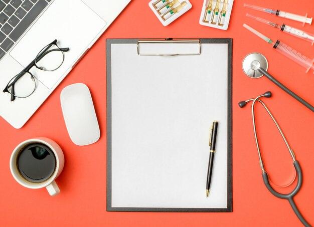 Blank folder with medical equipment