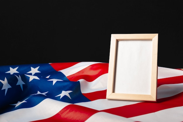 Blank frame on american flag background
