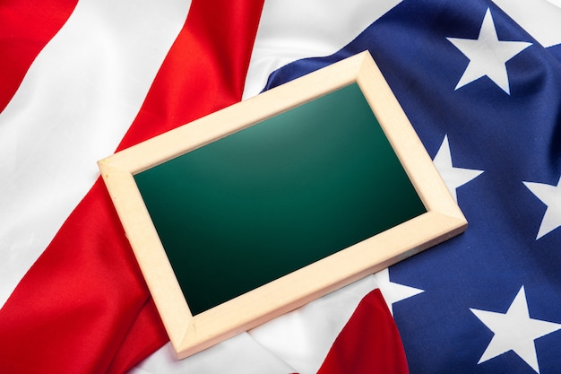 Blank frame on american flag