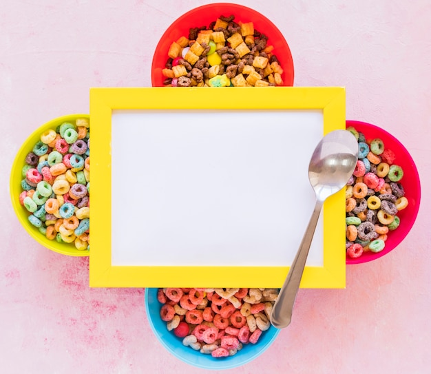 Blank frame on bowls with cereals