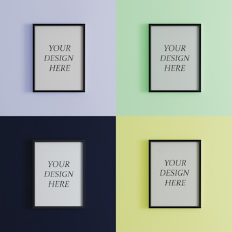 Blank frame on bright colorful wall mock up, vertical black poster frame on wall,  picture frame isolated on a wall, mock up for picture or photo frame,  empty frame on bright wall, 3d render