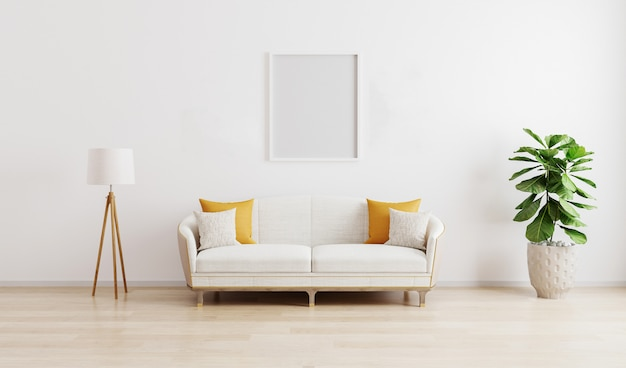 Blank frame in bright modern living room with white sofa, floor lamp and green plant on wooden laminate.