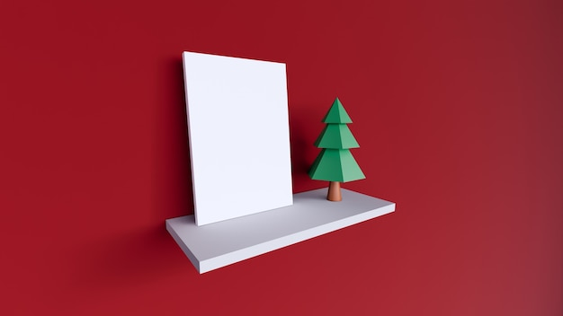 Blank frame canvas white on red background