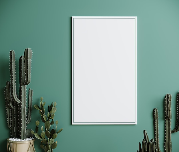 Blank frame on green wall