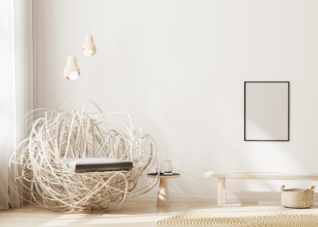 현대적인 인테리어 배경에 빈 프레임, 세련된 안락 의자가있는 밝은 베이지 색 거실