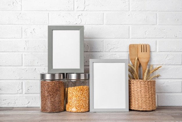 Blank frame on kitchen counter