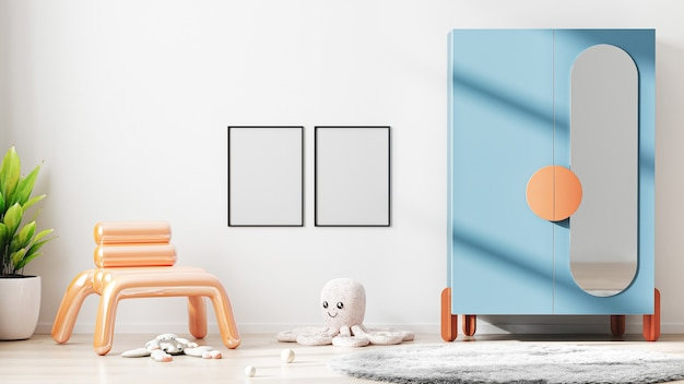 Blank frame mock up in modern children room interior background with white wall, 3d rendering