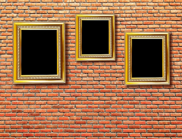 Blank frame on an old brick wall
