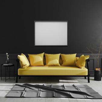 검은 벽에 빈 프레임, 가로 액자 노란색 소파, 스칸디나비아 스타일, 럭셔리 홈 인테리어, 3d 렌더링 어두운 현대적인 인테리어에 조롱