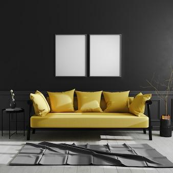 검은 벽에 빈 프레임, 두 개의 수직 포스터 프레임 노란색 소파, 스칸디나비아 스타일, 럭셔리 홈 인테리어, 3d 렌더링 어두운 현대적인 인테리어에 조롱