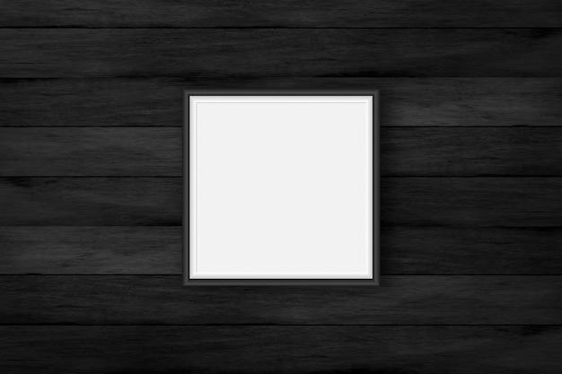 검은색 나무 벽에 있는 빈 프레임, 벽에 있는 검은색 포스터 프레임, 그림 사진 프레임에 대한 조롱