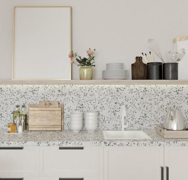 ビンテージデザインのキッチンの棚に空白のフレーム
