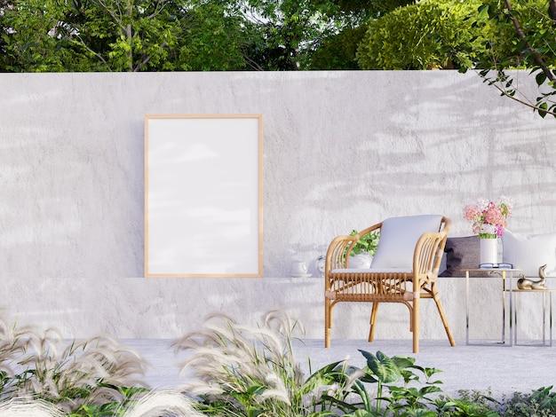 야외 거실, 3d 렌더링을위한 콘크리트 안뜰이있는 벽에 빈 프레임