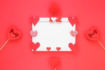 Blank frame with different hearts