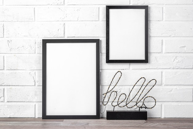 Blank frame with hello sign