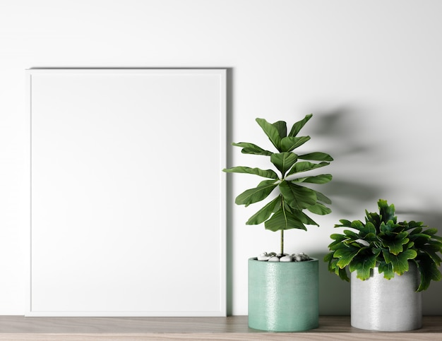 Blank frame with two plants in a modern apartament