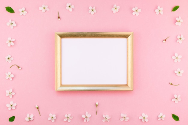 Blank frame with white flowers