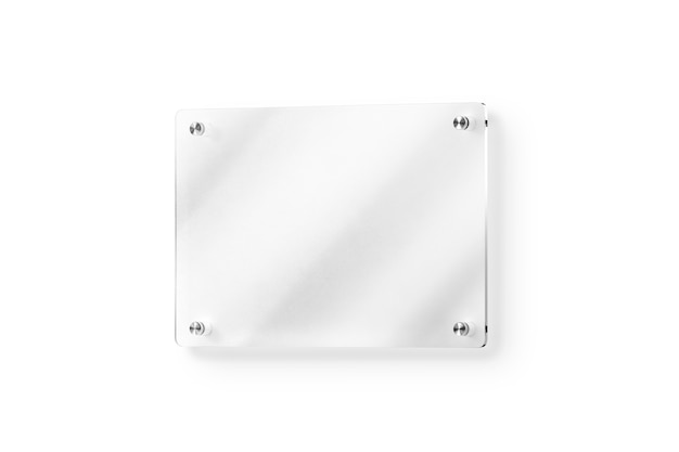 Blank glass name plate wall-mounted mockup