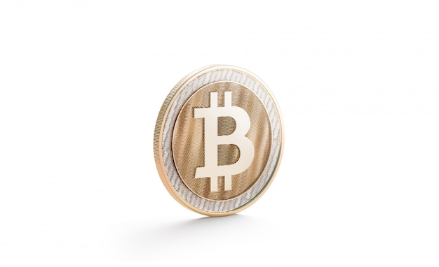 Blank gold bitcoin mock up, isolated, side view