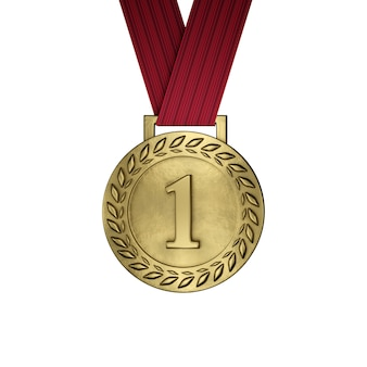 Blank gold medal isolated on white. 3d render