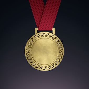 Blank gold medal with ribbon. 3d render