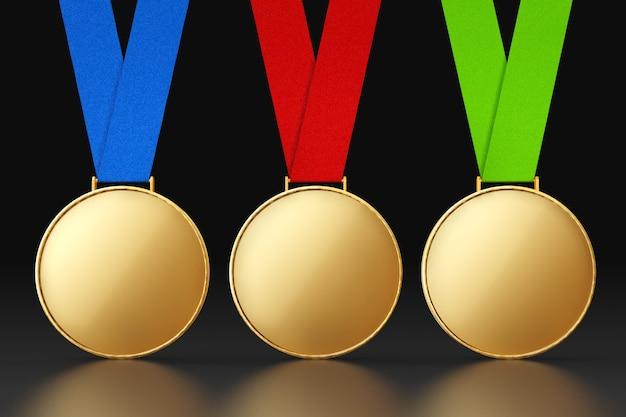 검정색 배경에 여러 가지 빛깔의 리본이 달린 빈 금메달