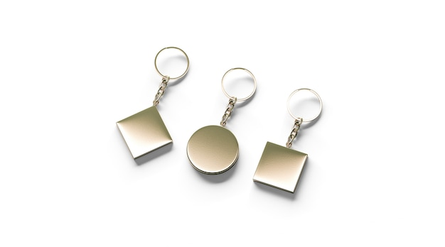 Blank golden key chain mock up side set view